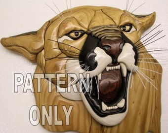Pattern of a Mountain LIon Bust, Intarsia sculpture
