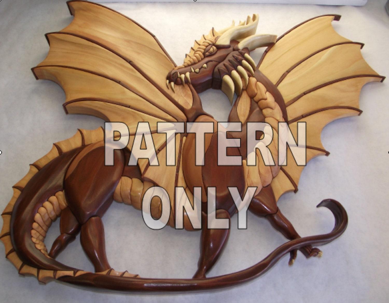Pattern of large 'Dragon' 26 x 21 Intarsia Original by kennbennett