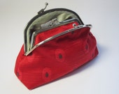 Oval Patterned Red Clutch Coin Purse Wallet Charcoal silk Slate Grey Kiss Lock Double Pocket
