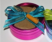 Wedding Favor Seed Tape- Fuchsia Tin, Flower or Herb