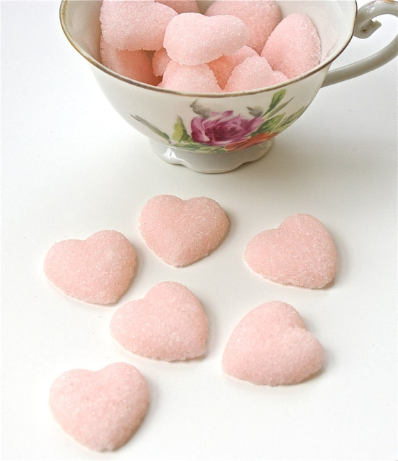 Pink Sugar Hearts for Tea Parties, Champagne Toasts, Favors, Coffee, Tea, Weddings