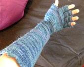 Ocean Silk & wool elbow length, finger tip-less, Knitted Gloves.