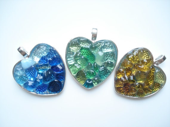 Three rockpools of Sea Glass set in Silver pendant tray - ideal Gift - E0681 from Seaham