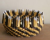Paper Origami Bowl with brown & yellow spiral - Housewarming gift, Hanukkah gift, holiday gift
