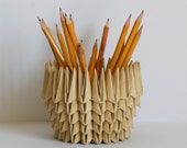 Housewarming gift idea - Origami Paper Bowl, natural look, recycled pencil holder