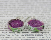 Paper beads earrings - a pair of purple beads made of quality paper, hang from fine sterling silver wire