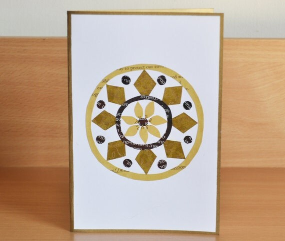 Paper Handmade Greeting Card / Birthday Cards Handmade / Unique Greeting Card / Recycled Paper Greeting Card / Collage Greeting Card /