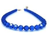 Necklace, Beaded, Cobalt Blue Adjustable in Swarovski Crystal--Reserved for Lauren