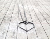 Heart Necklace, Darkened Sterling Silver