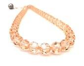 Beaded Necklace, Peach Swarovski Crystal Adjustable Choker