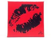 Pop Art, Graffiti Kiss, Lips, Black on Red Painting