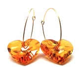 Gold Hoop Earrings, Orange Swarovski Crystal Heart