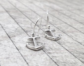 Sterling Silver Anchor Earrings, Anchor Jewelry, Dangle Earrings, Sterling Silver Jewelry, Anchor Charms, Anchor Earrings, Anchors