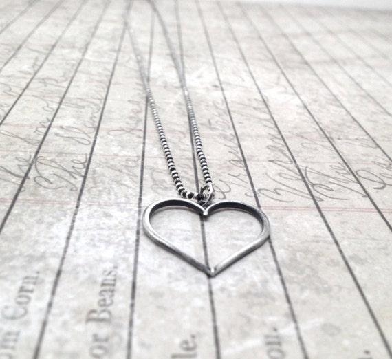 Heart Necklace, Darkened Sterling Silver