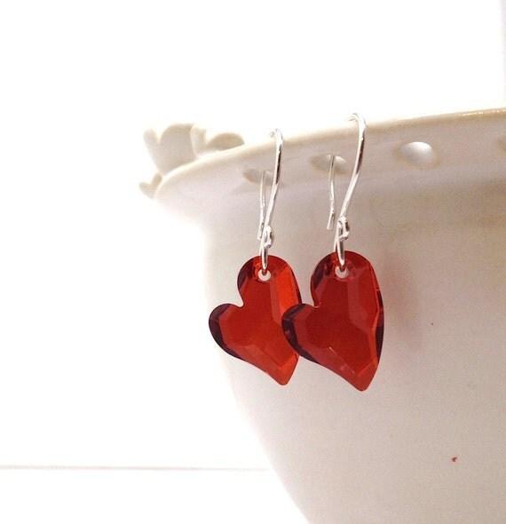 Red Heart Jewelry, Earrings, Swarovski Crystal, Sterling Silver