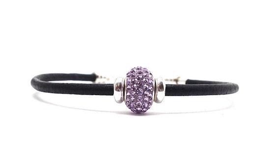 Clearance Sale, Purple Swarovski Crystal Bracelet, Friendship Bracelet, Purple Bracelet, Black Leather Bracelet, Sterling Silver Jewelry