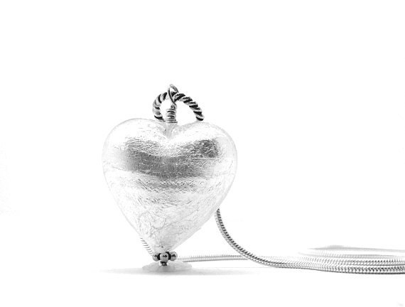 White Heart Necklace, Murano Glass, Sterling Silver Jewelry