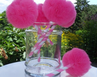 Set of 24 Tulle Pom Pom cupcake Toppers (Any Color)