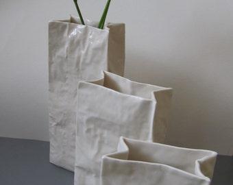 Handmade porcelain Vase like a paper structure - Set of 3