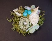 Spring Green Nature Inspired Baby Photography Prop Headband featuring Robin eggs and a bit of bling