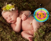 Nature Inspired Green Grass Photography Prop Headband featuring Moss and Vintage Bling Accent