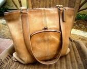 Newly REDUCED sale // Bonnie Babe // vintage Coach Bonnie Cashin tan kisslock shoulder tote bag