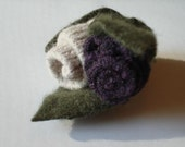 Flower Pin No.065 Plum and Oatmeal Merino Wool Rosettes with Loden Green Cashmere Leaves
