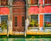 Buon Giorno, Venice - Fine art travel photography - Venice door - windows, flowerpots, wrought iron - pink, brown, green