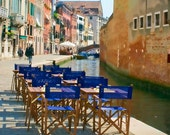 Italy photography - Alfresco - Venice - Fine art travel photography - waterscape, street scene - indigo blue, terra cotta, pinks