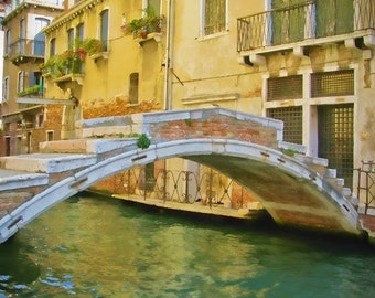 Poetic Bridge in Venice - Fine art travel photography - yellow, green, terracotta