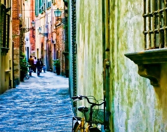 Narciso's World, CANVAS wrap- Tuscany poster size canvas - Fine art travel photography - bike art - unisex gift