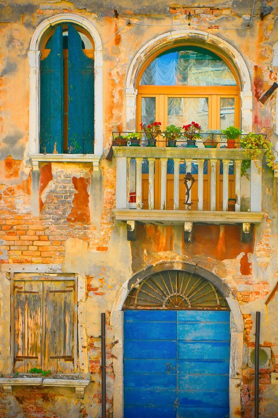 Venetian Fairy Tale, CANVAS wrap - Venice poster size canvas - Fine art photography gift  - door, windows architecture - gold blue teal
