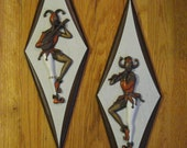 Set of 2 Vintage Jester Wall Plaques Hangings Pictures Flute