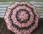 Vintage Brown & Pink  Floral Sun Parasol or Rain Umbrella