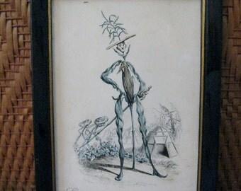 vintage Framed CORN MAN L'eroe based on a 1880s Italian  Vegetable People Card