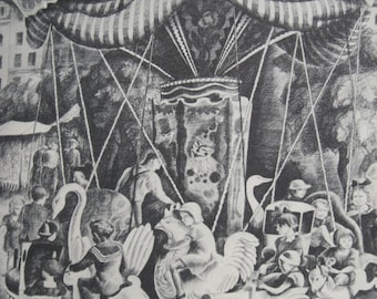 Vintage Black and White Carousel Drawing by Howard Cook 1939