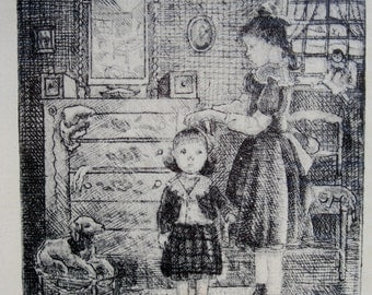 Litho Early Rising by Lauren Ford 1939 Black and White Sisters