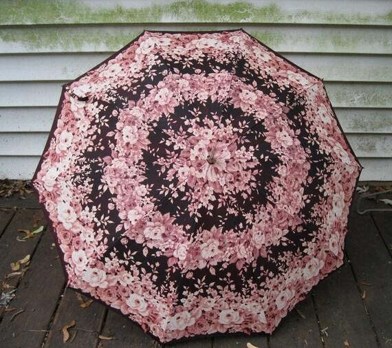 Vintage Brown & Pink  Floral Sun Parasol or Rain Umbrella