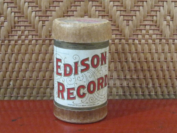vintage antique 1909 Edison Record Cylinder Container