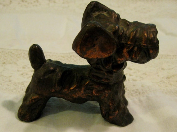 Brass Copper SCOTTIE DOG Statue Figurine Collectible
