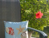 Coastal Design Pillow with Sea Shells, Starfish, Coral