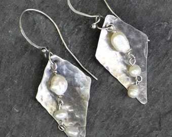 Moonlight Renaissance Sterling Silver and Pearl Earrings