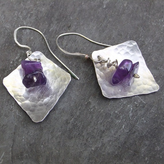 Hammered Amethyst and Sterling Silver Earrings
