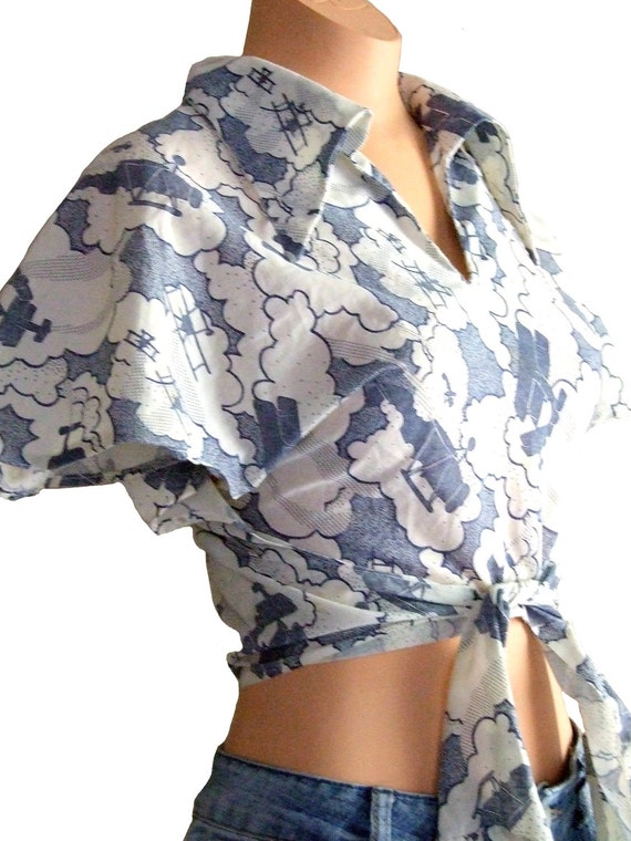 Handmade Blue and White Crop Top with Airplanes 70s Midriff Shirt