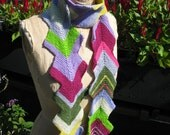 Double rainbow. Multicolored zig zag scarf