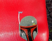 Star Wars Boba and Jango Fett: Upcycled hand painted red leather purse