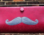 Double Mustaches. Red fabric upcycled hand painted clutch purse.