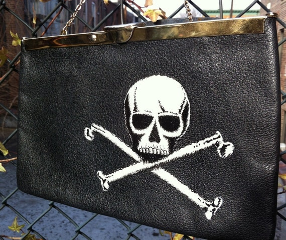Poison Skull and Crossed Bones: Upcycled hand painted vintage leather Etra clutch purse