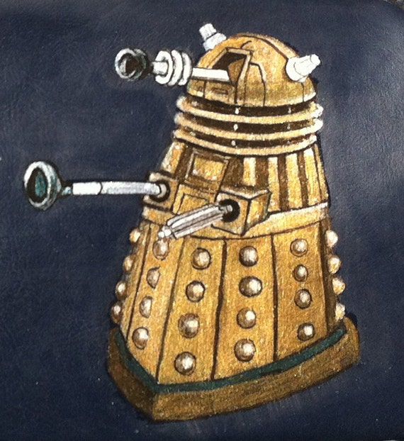 Dr. Who's Gold Dalek: Upcycled hand painted clutch purse