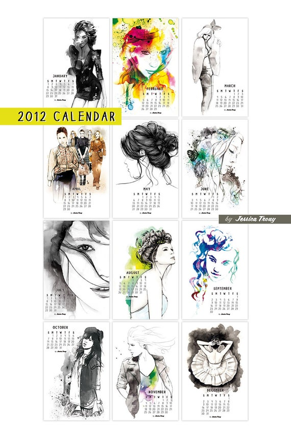 Fashion Illustration Calendar : Calendar fashion illustration watercolor and by